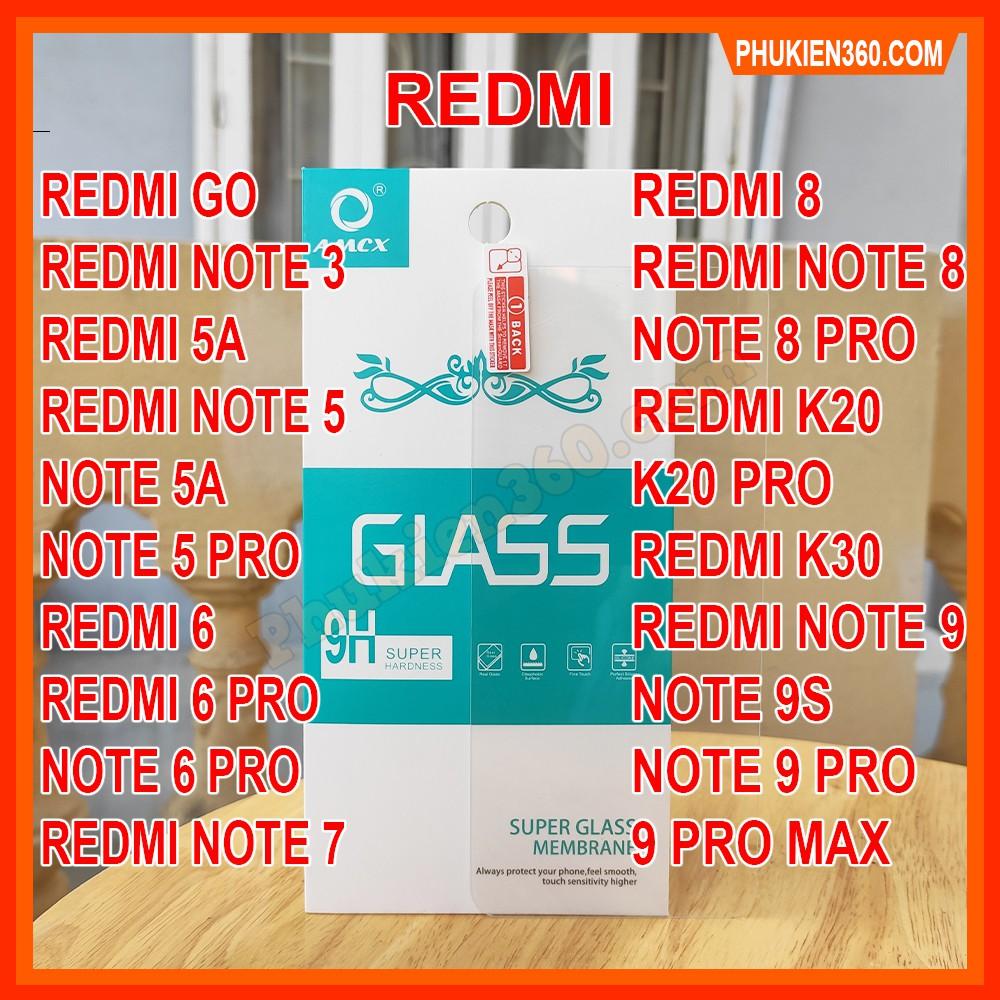 Kính Cường Lực Xiaomi Trong Suốt Redmi Note 3,4X,5A,Note 5,5 Pro,Note 7,7 Pro,Note 8,8 Pro,Note 9,9 Pro,Redmi 9A,K20,K30