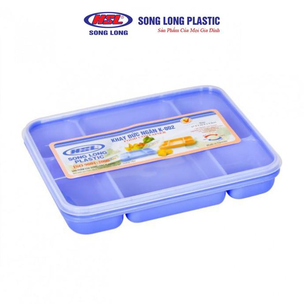 Khay đựng cơm chia phần có nắp đậy 5 ngăn bằng nhựa