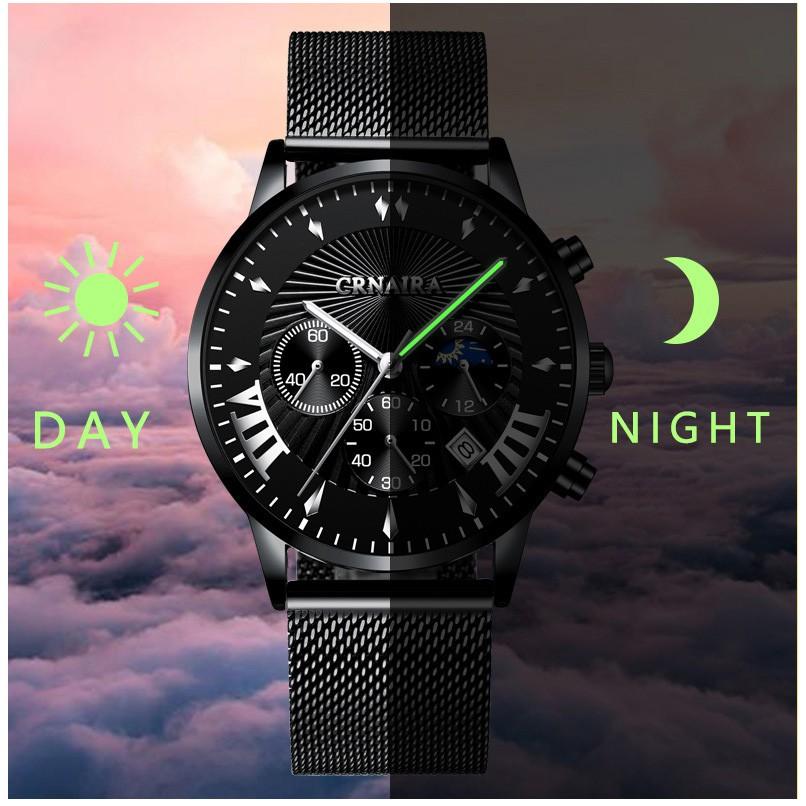 Đồng hồ Nam ⚜️FREESHIP⚜️CRNAIRA phong cách Itali C8229 Doanh Nhân 2020 lịch ngày  thời trang dây thép mành cao cấp