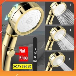 Vòi Sen Tăng áp Có Nút Khóa Nước 3 chế độ Phun, Xoay 360 độ Hàng Xịn – Vàng Gold 206783