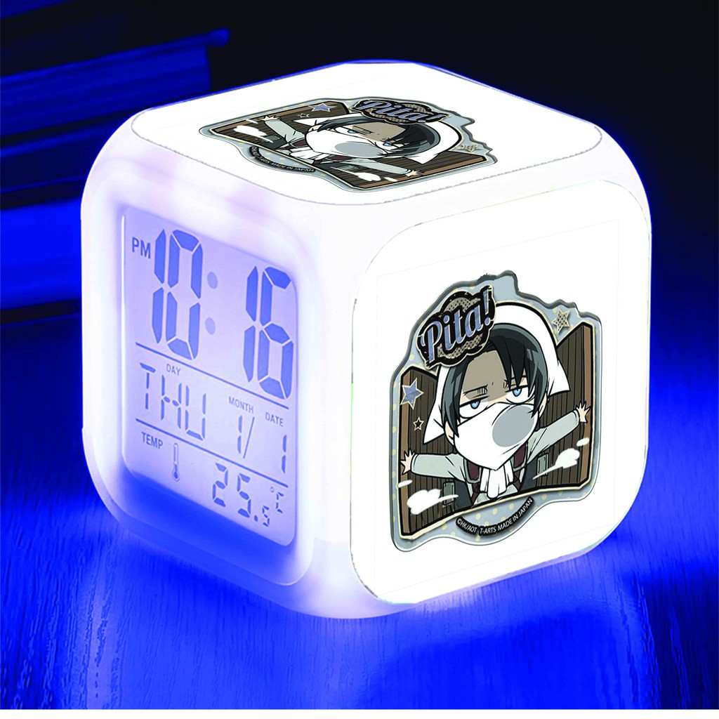 Đồng hồ báo thức để bàn in hình ATTACK ON TITAN ainme chibi LED đổi màu M2