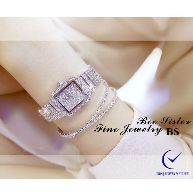 Đồng hồ nữ Bee Sister đính đá full sáng lấp lánh- BS37 - (Trắng)
