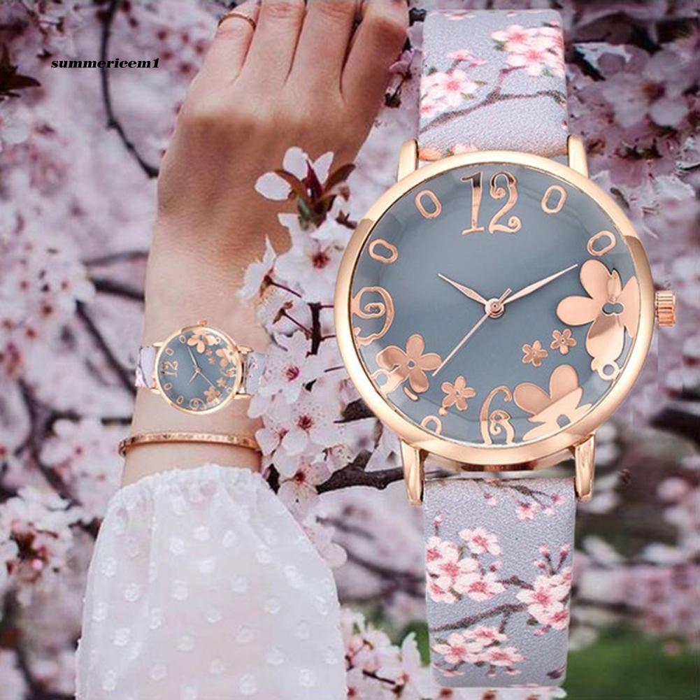 【SUCM】Creative Floral Round Dial Analog Faux Leather Band Women Quartz Wrist Watch