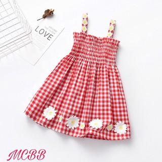 MCBB - Váy Hai Dây Bé Gái Bó Chun Smocking Ca-rô Kết Hoa Xinh - Váy Màu Đỏ Caro - Đầm Váy Bé Gái Nữ 1-16 Tuổi - GDAT0013