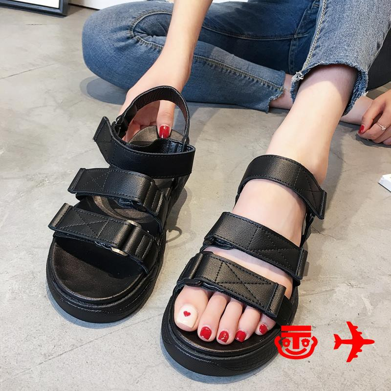 !Shoes female 2019 new summer Korean version of the net red students open toe muffin thick bottom Velcro sports sandals