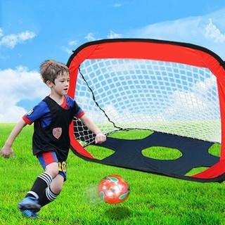 Kids Dual Use Foldable Football Target Shot Goal Net Door Gate Red Blue