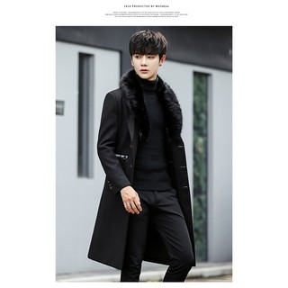 Áo khoác măng tô Hàn Quốc cổ lót lông ấm áp
