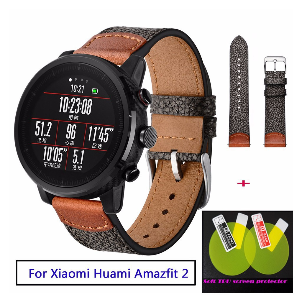 Bands leather for Original Xiaomi Huami Amazfit Stratos 2 Pace Leather Strap
