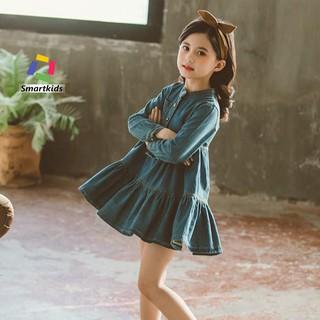 Váy cho bé gái - Váy jean Smartkids dáng xòe cổ tàu cao cấp TE2050