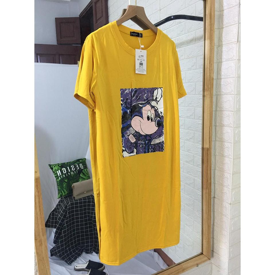 Mặc gì đẹp: Dễ chịu với Đầm Bầu Suông Dáng Dài Tay Lỡ Váy Bầu Suông Nữ Cổ Tròn Họa Tiết Chuột 5D Chất Thun Cotton Hàng VNXK