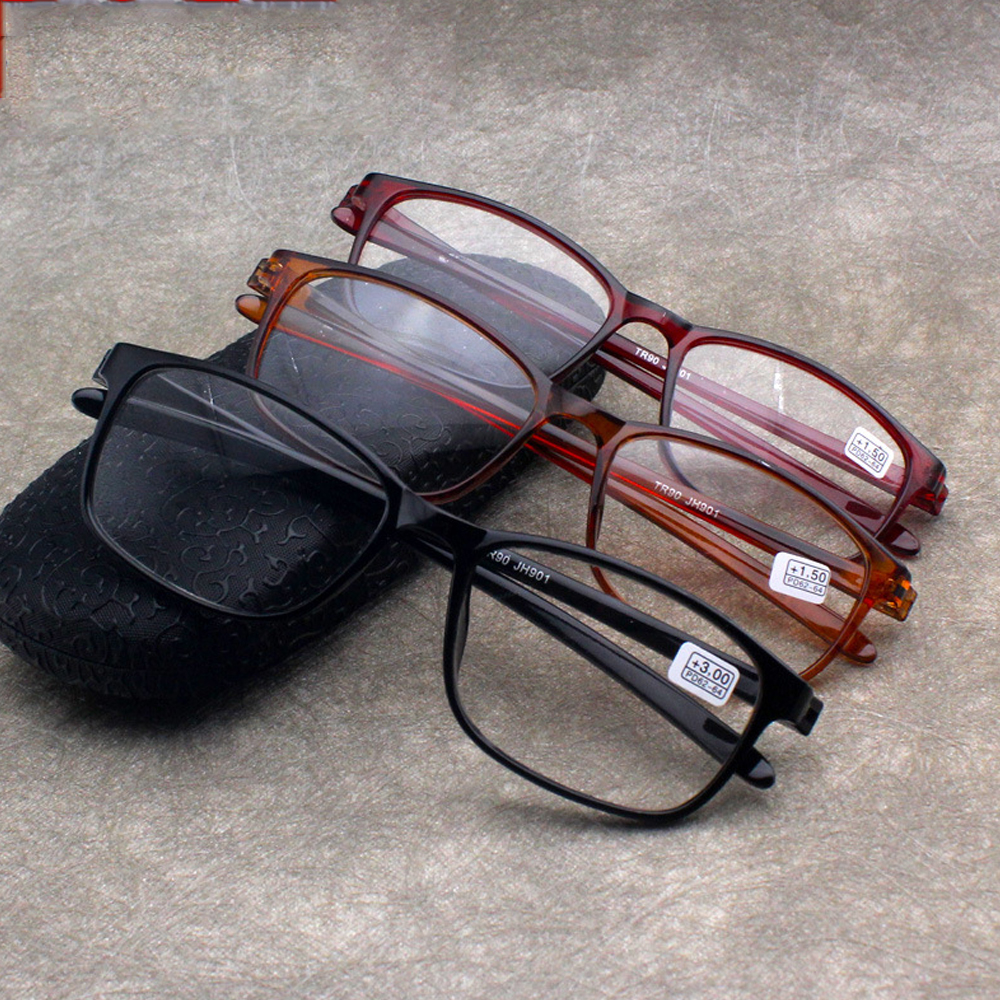EMILEE💋 TR90 Reader Eyewear Fashion Reading Glasses Presbyopic Glasses Flexible Ultralight Women Men Retro Clear Lens/Multicolor