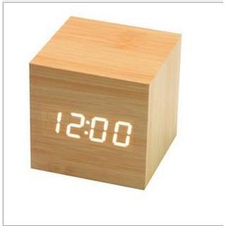 Đồng hồ LED để bàn giả gỗ có nhiệt kế - báo thức (Tặng cáp sạc)