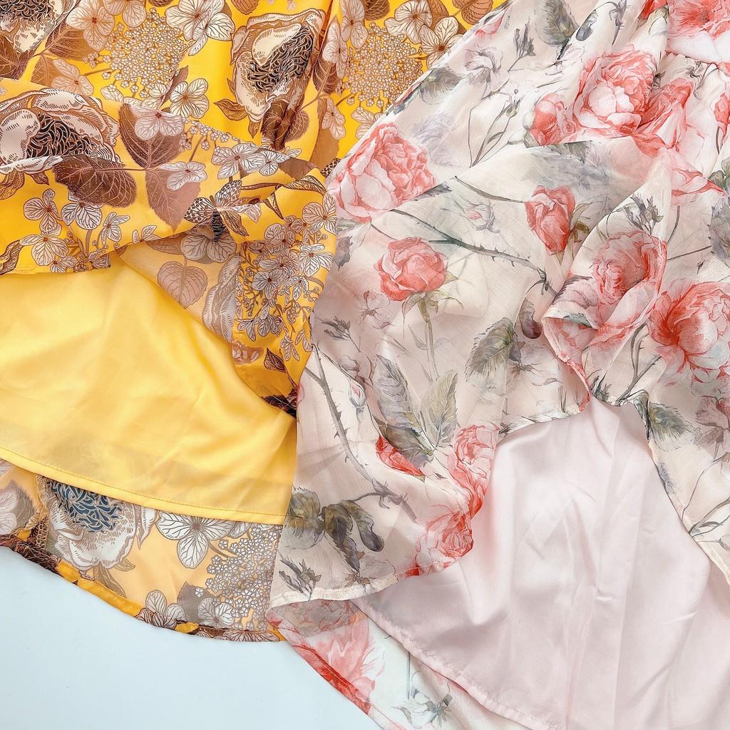 Mặc gì đẹp: Tung bay với Váy xoè 2 dây hoa chất voan lụa nhẹ mát dk168