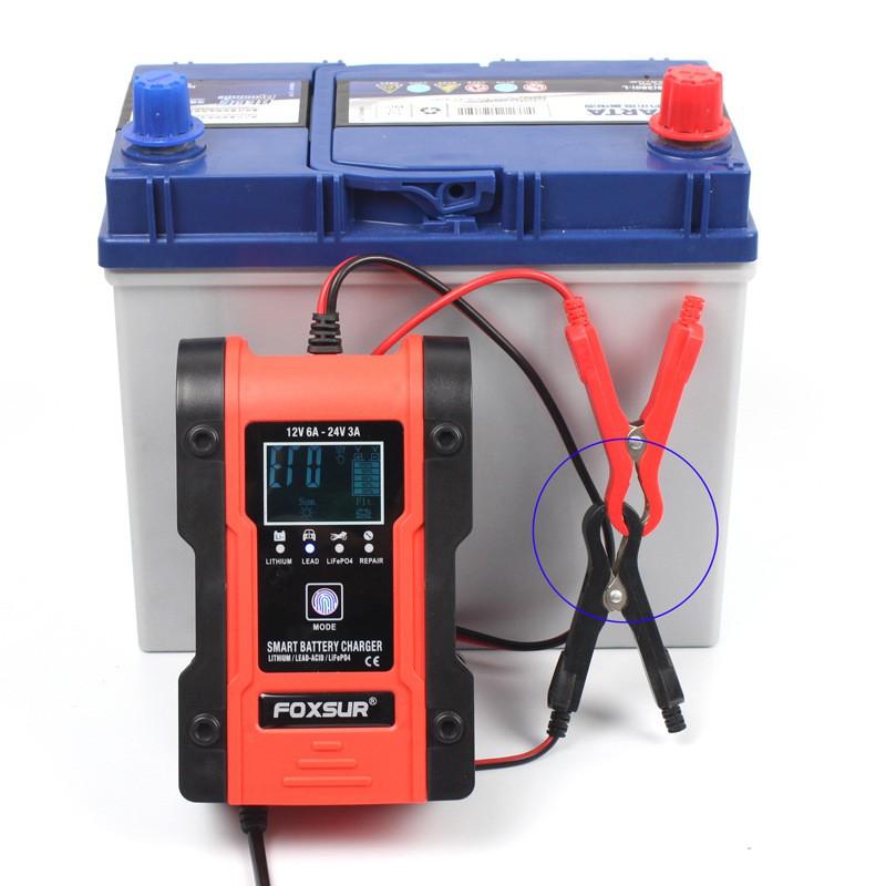 Máy Sạc bình acquy 12V 24V - Pin lithium 12.6V - Pin LiFePO4 Lithium sắt phốt phát Bộ sạc ô tô và xe máy có khử sunfat