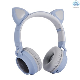 【enew】LED Cat Ear Headset RGB 3-Color Lights Noise Cancelling Headphones BT 5.0 Kids Earphone Support TF Card Radio 3.5mm Plug Blue