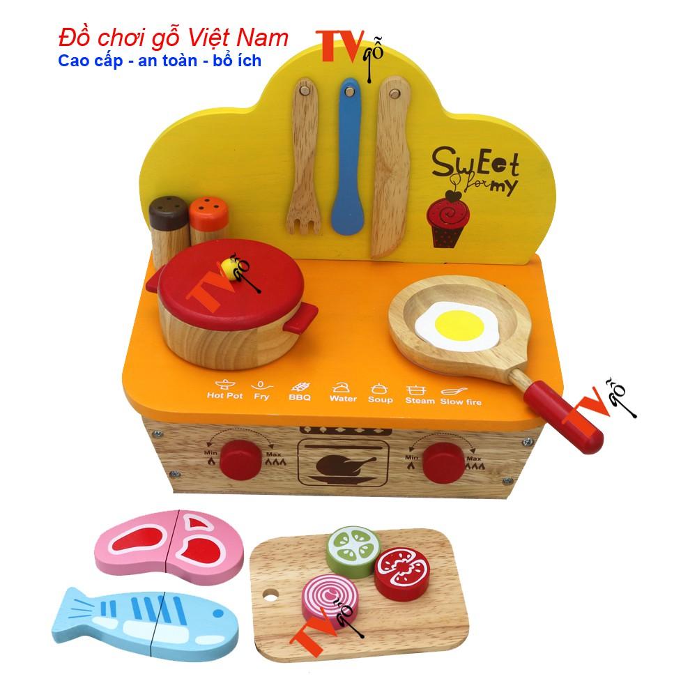 Đồ chơi nhập vai đầu bếp cùng bé | Bếp bằng gỗ Việt nam