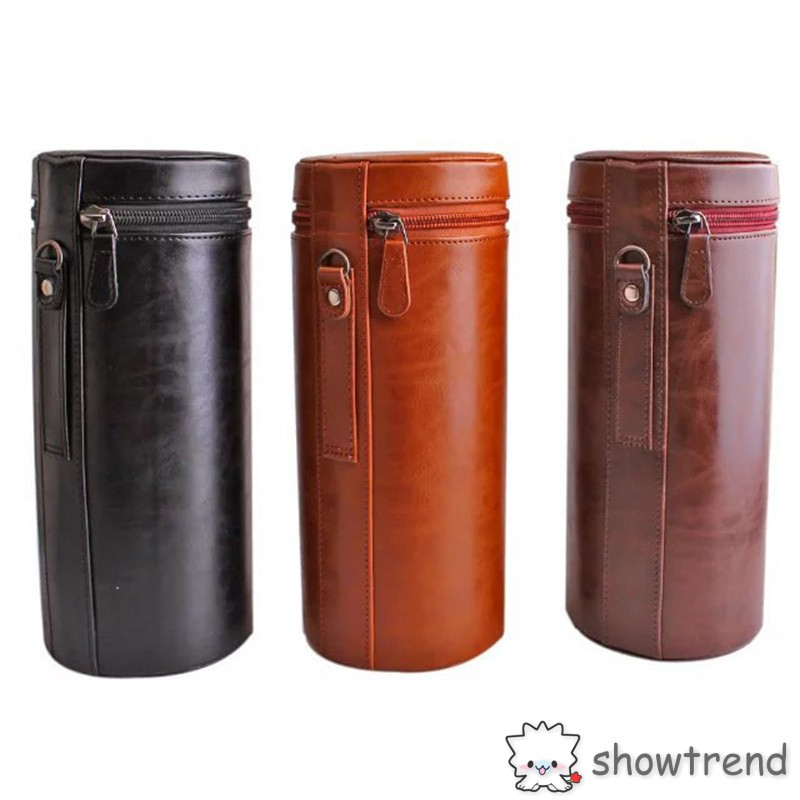 Túi da PU bọc bảo vệ ống kính máy ảnh SLR