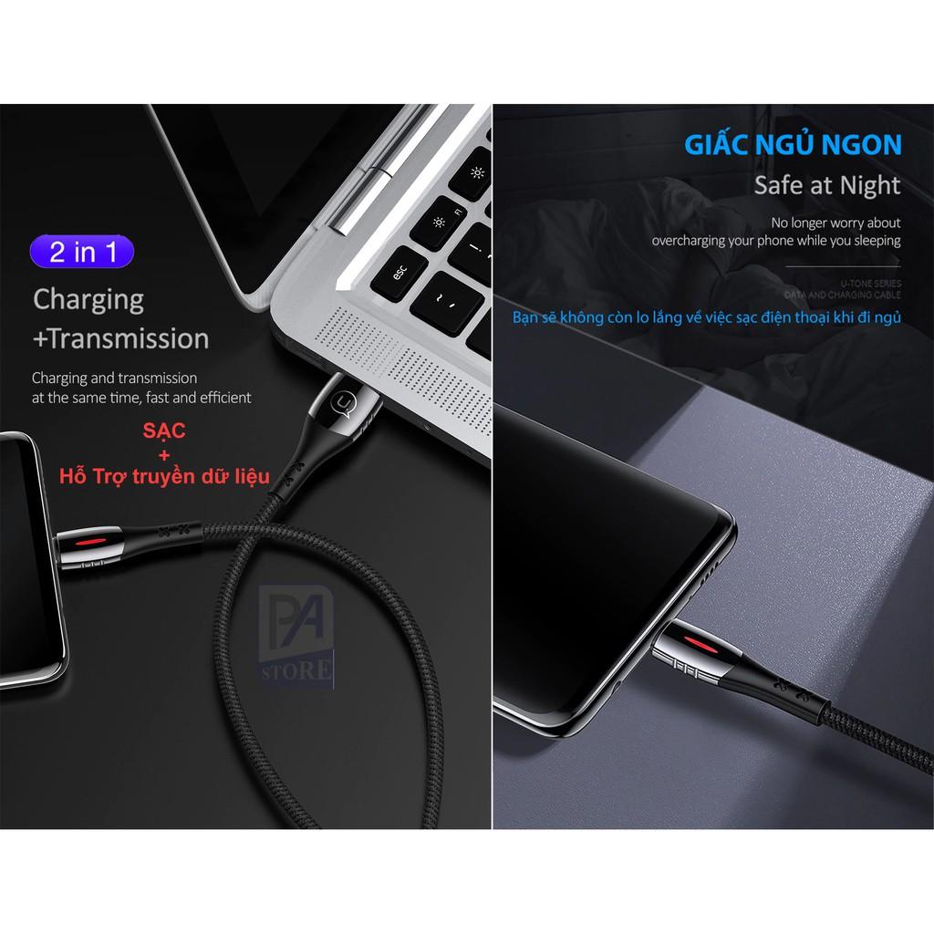 Cáp Sạc Tự Ngắt Khi Pin Đầy - Type C Có Hổ Trợ Sạc Nhanh QC 3.0 - USAMS - Siêu Phẩm Thế Hệ Mới