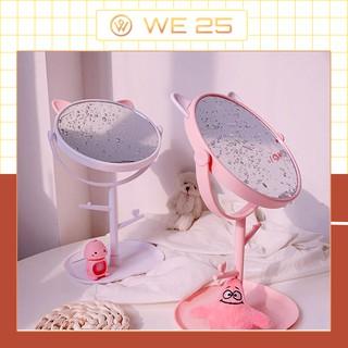 Gương Soi Tai Thỏ Để Bàn Trang Điểm Gấp Gọn Gương soi mini để bàn siêu dễ thương thumbnail