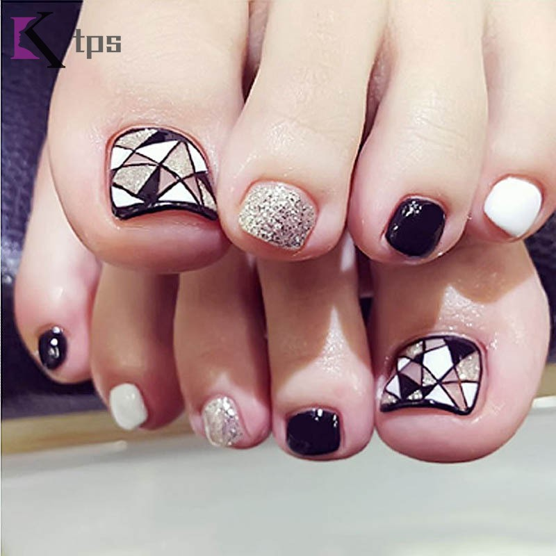 ☀Ultra Low Price☀ 24 Pcs/Set Fashion Foot False Nail Tips ...