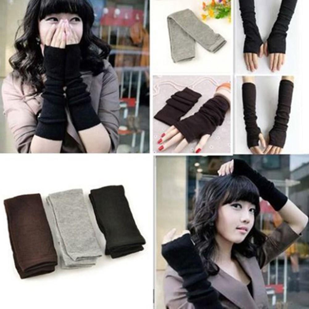Găng tay dài hở ngón đan len thời trang giữ ấm cho mùa đông