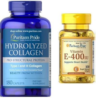 Bộ đôi sản phẩm làm đẹp chống lão hóa cho da: Collagen thủy phân và Vitamin E 100 viên - Puritan Pride
