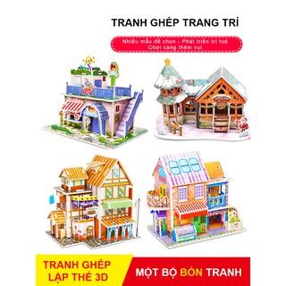 Bộ 4 Mô Hình Lắp Ghép Căn Nhà Lập Thể 3D Cho Bé