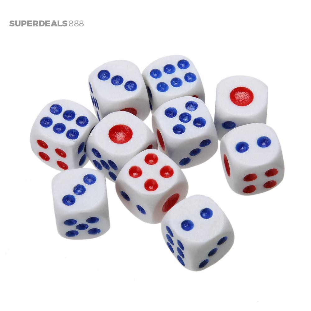 ☎SuperDeals888☎ 10pcs White Acrylic Round Corner Dice 6 Sided Die Portable Table Games Dice