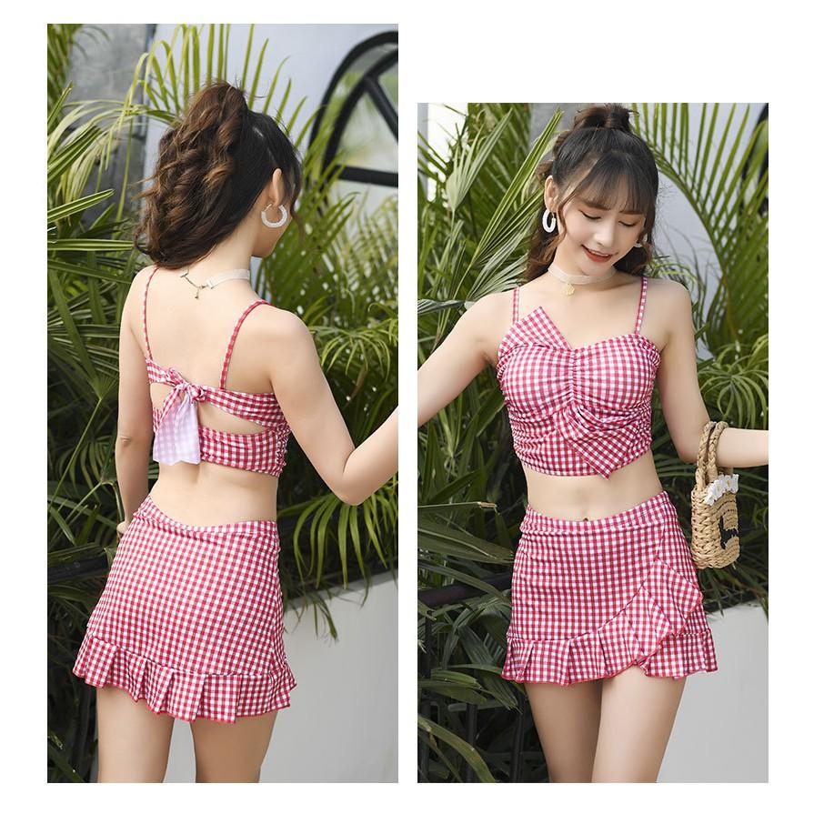Bộ Đồ Bơi Thời Trang Bikini Nữ Đi Biển 2 Mảnh Caro Sexy BK12