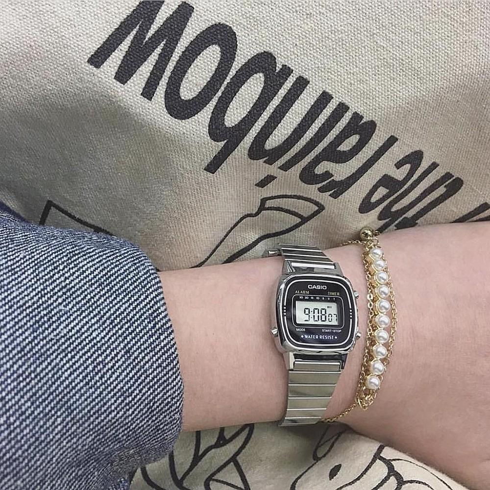 [Mã FARSBRT52 giảm 20% đơn từ 249K] [CAO CẤP] Đồng hồ nữ dây thép không gỉ Casio Standard LA670WA-1DF chính hãng Anh Khu
