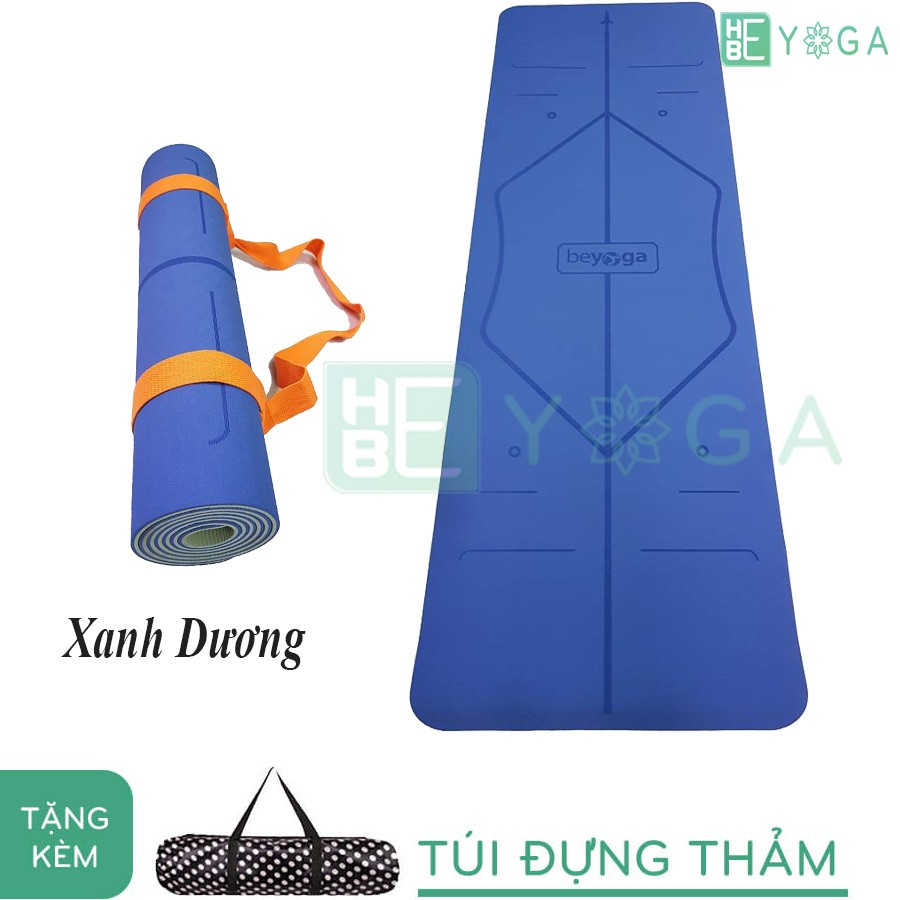 Thảm Yoga Định Tuyến TPE 6mm 2 lớp màu xanh dương (Tặng kèm túi)