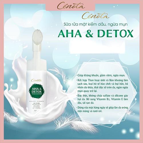 Sữa rửa mặt Aha & Detox facial cleanser 150ml, kiềm dầu, ngăn ngừa mụn hiệu quả - mã C04 cénota