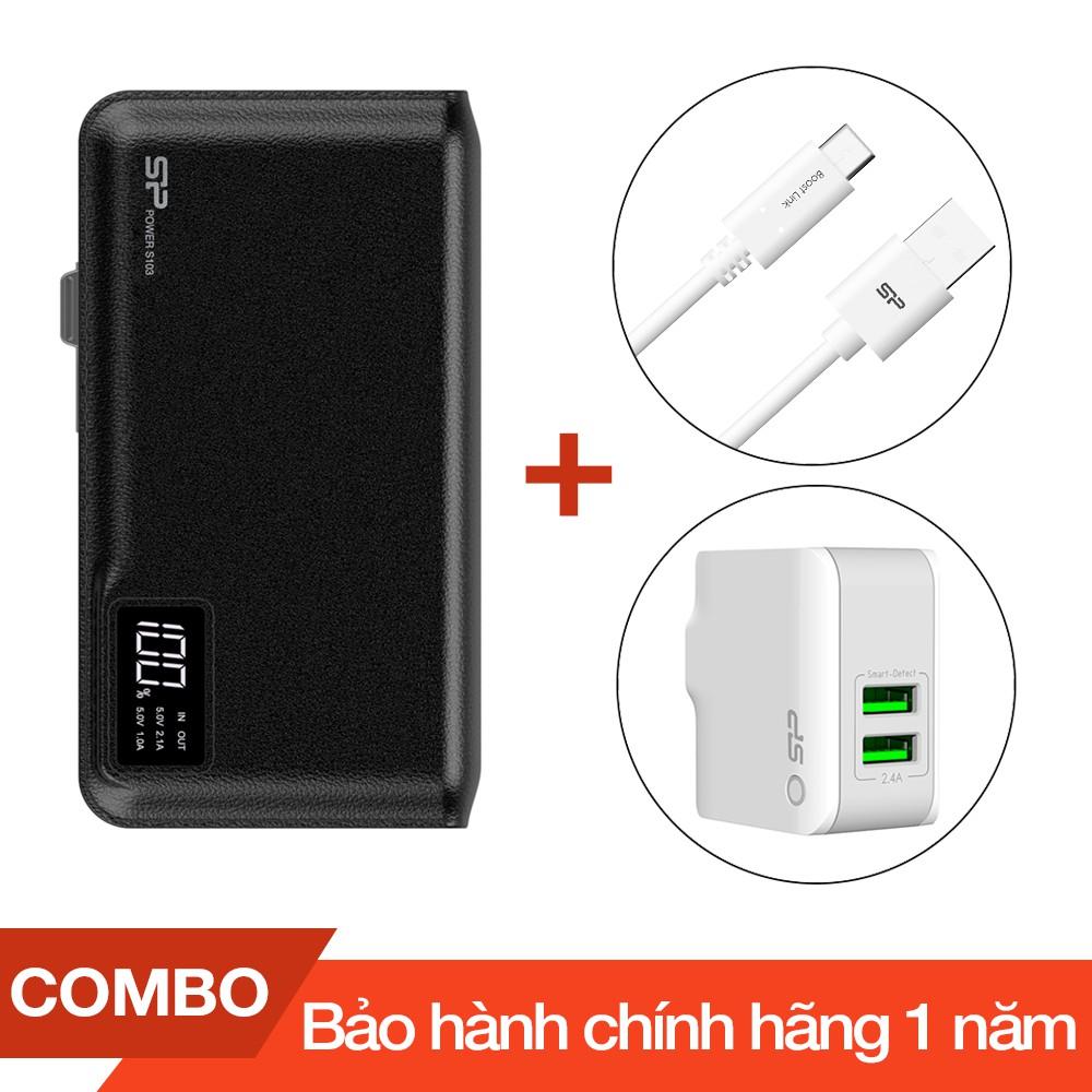 Combo Pin sạc dự phòng 10000mAh S103 Silicon + Cáp sạc Type-C Silicon dài 1m + Cốc sạc 2 cổng USB 2. - 2720965 , 1083615554 , 322_1083615554 , 600000 , Combo-Pin-sac-du-phong-10000mAh-S103-Silicon-Cap-sac-Type-C-Silicon-dai-1m-Coc-sac-2-cong-USB-2.-322_1083615554 , shopee.vn , Combo Pin sạc dự phòng 10000mAh S103 Silicon + Cáp sạc Type-C Silicon dài 1