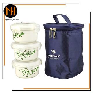 Bộ 3 hộp sứ tròn 3 tầng đựng thức ăn Happycook HCC-03C tặng túi giữ nhiệt cao cấp