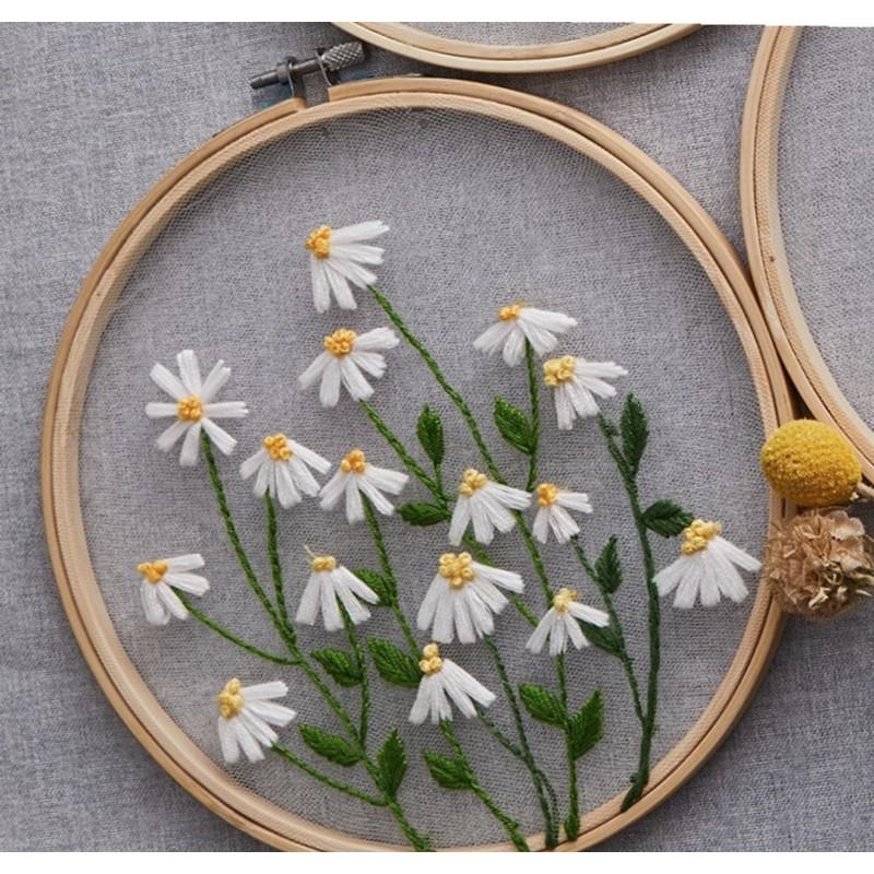 Gói nguyên liệu thêu trong suốt hoa cỏ vintage quà tặng trang trí decor phòng khung vải đầy đủ thủ công tự làm Lenmade