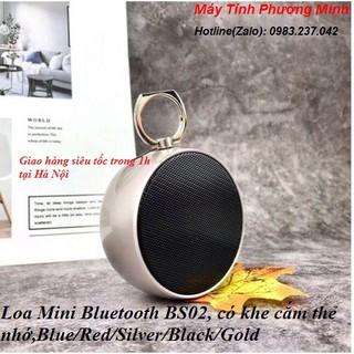 Loa bluetooth BS02 bass chắc, âm thanh cực hay- Loa mini có khe cắm thẻ nhớ TF, màu Đỏ/Vàng /Bạc/Xanh dương/Đen