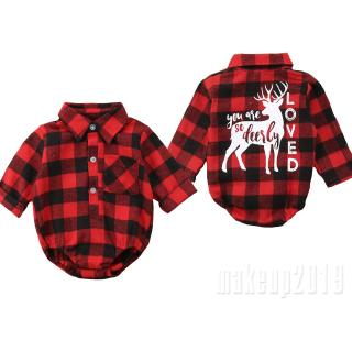 Mu♫-New Infant Kids Baby Girl Boy Christmas Elk Romper Bodysuit Outfits Clothes
