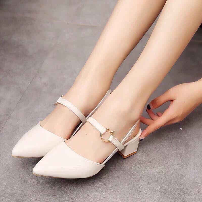 Giày boot ống cao dưới gối đế vuông màu trắng GCC4302