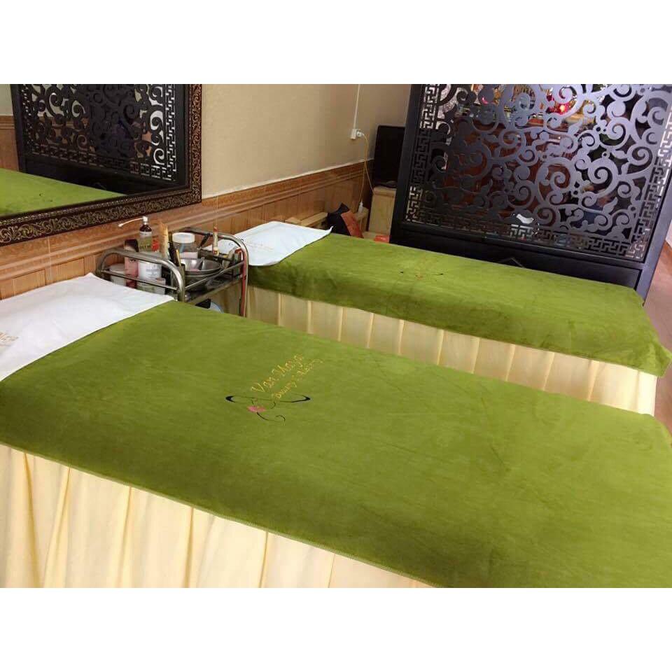 Bộ 5 khăn cao cấp trải giường spa 90x180 cm ( Xanh rêu)