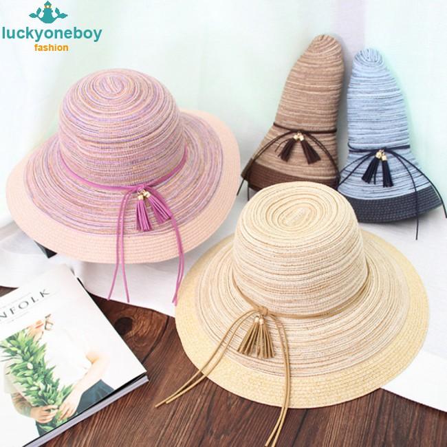 Woman Bowknot Straw Hat Fashion Big Brim Sun Summer Beach Hat