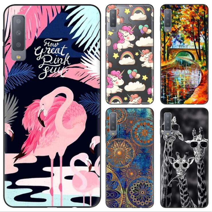 Case Samsung Galaxy A7 2018 A750 Unicorn Flamingo Cool  Clear Printing Soft TPU Fashion Casing