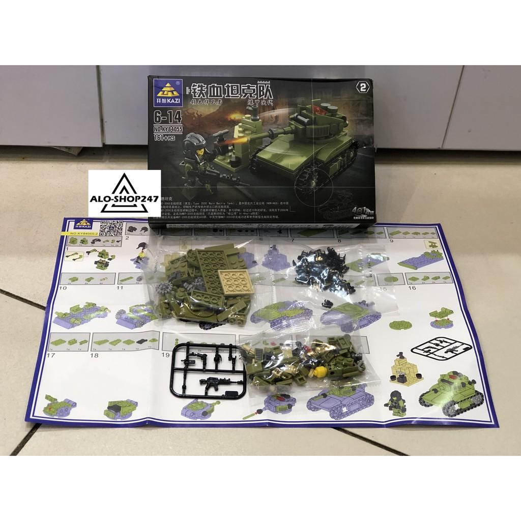 Đồ chơi lắp ghép Lego xếp hình xe tăng chiến đấu KAZI - KY84055 4 IN 1 với 629 mảnh...