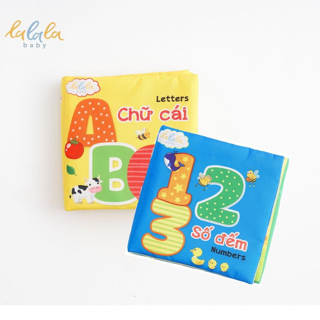 Combo 2 cuốn sách vải Lalala baby, kích thích đa giác quan, kích thước 15x15cm 12 trang (Số đếm, chữ cái)