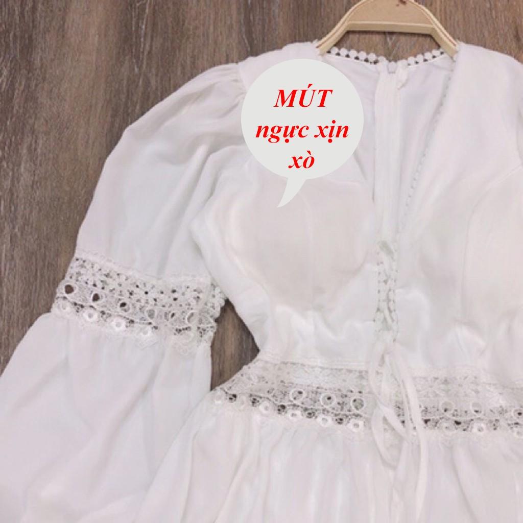 Đầm maxi nữ sẻ tà trắng ren dáng dài tiểu thư công chúa đi biển thích hợp chụp hình kỉ yếu nàng thơ xinh đẹp