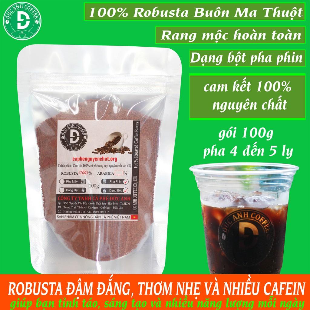 cà phê rang mộc nguyên chất DUC ANH COFFEE 100% robusta Buôn Ma Thuột - Gói 100g giá dùng thử