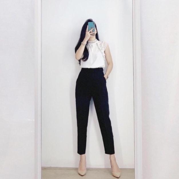 Quần baggy công sở nữ kèm đai bọc siêu Hot Amee Fashion