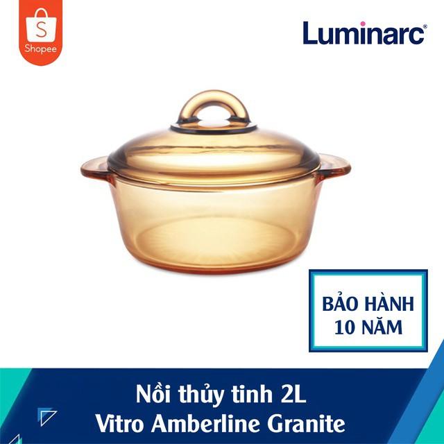 Nồi Thủy Tinh 2 Lít Luminarc Vitro Amberline Granite (Đáy Nhám Chống Trượt)