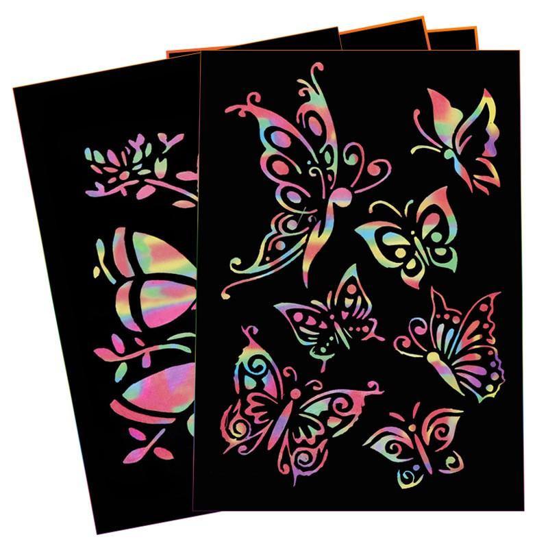 Giấy vẽ ma thuật A4, giấy cào ma thuật, sổ sắc màu, sổ xước, sổ cầu vồng, notebook sáng tạo trung set 10 tờ