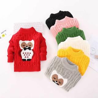 Len vặn thừng hình gấu quảng châu, áo len size nhỡ cho bé từ 15 đến 28kg