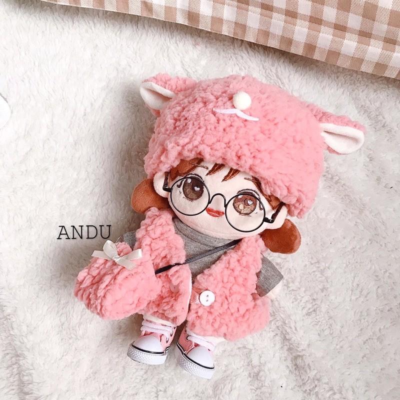 set quần áo cho búp bê hàn quốc 15-20cm ( set gray lamb và pink lamb)